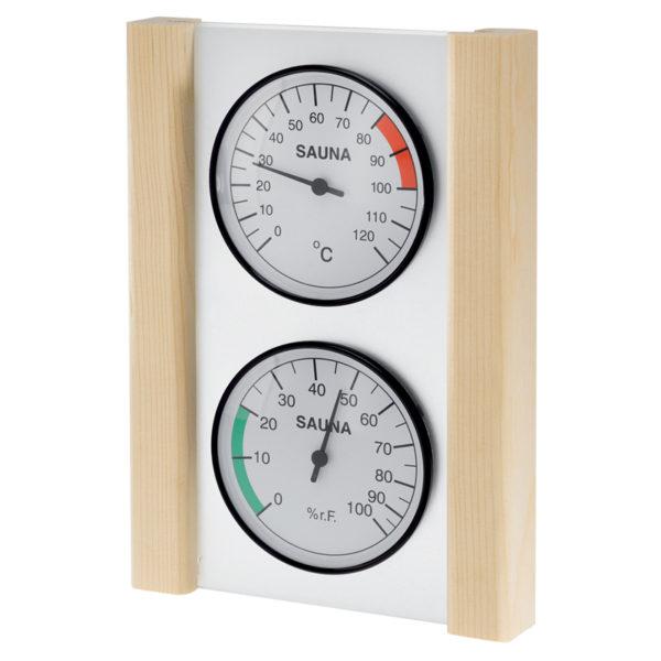 Thermometer og hygrometer i glas/træramme