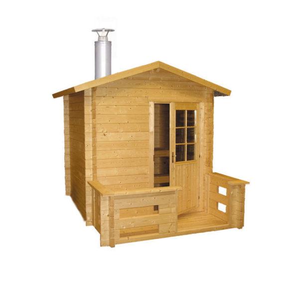 Outdoor sauna Kuikka med Pro20 træovn, 2×2+0,9mtr