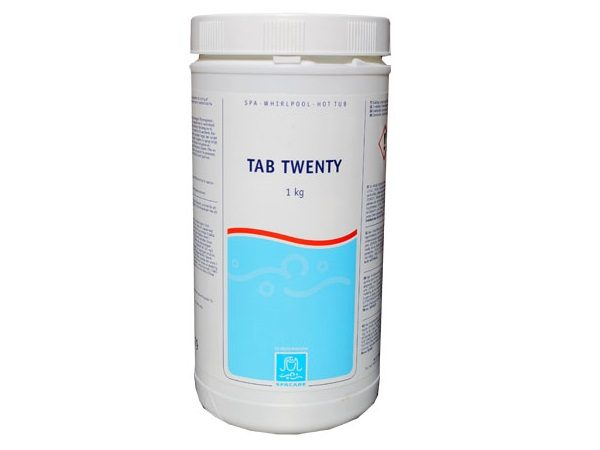 Tab Twenty 20 gram langtidsklor fra SpaCare forhandles hos SolBadet.dk