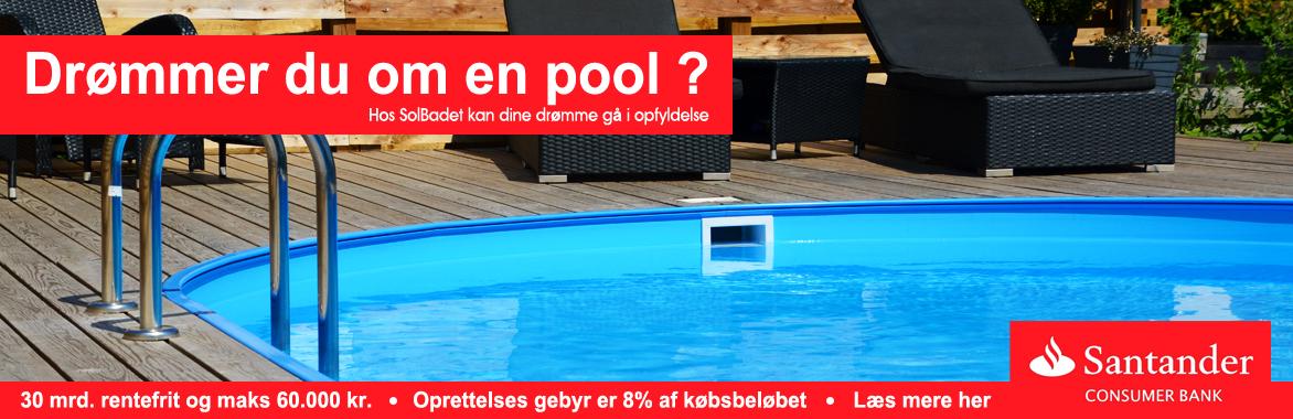 Finansiering igennem Santander consumer bank på pool, spa, badekar, varmepumpe hos Solbadet