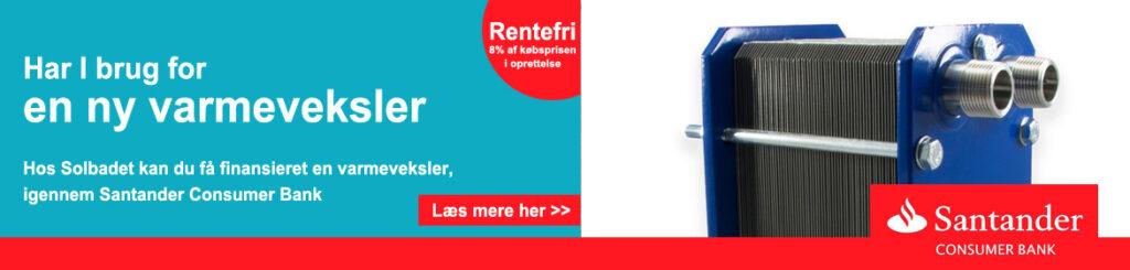 Varmeveksler - få den finansieret igennem Santander consumer bank hos Solbadet