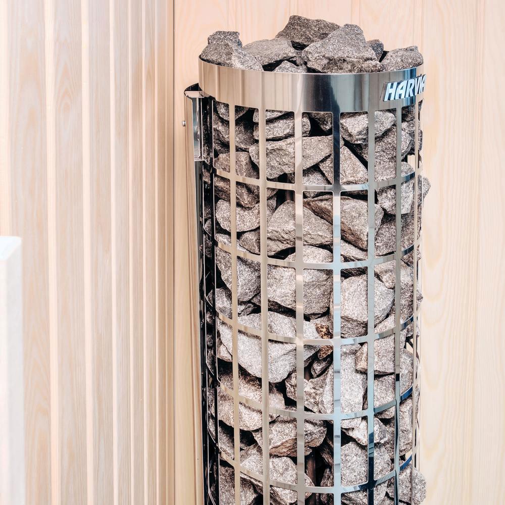 Cylindro fritstående saunaovn med indbygget styring close up solbadet