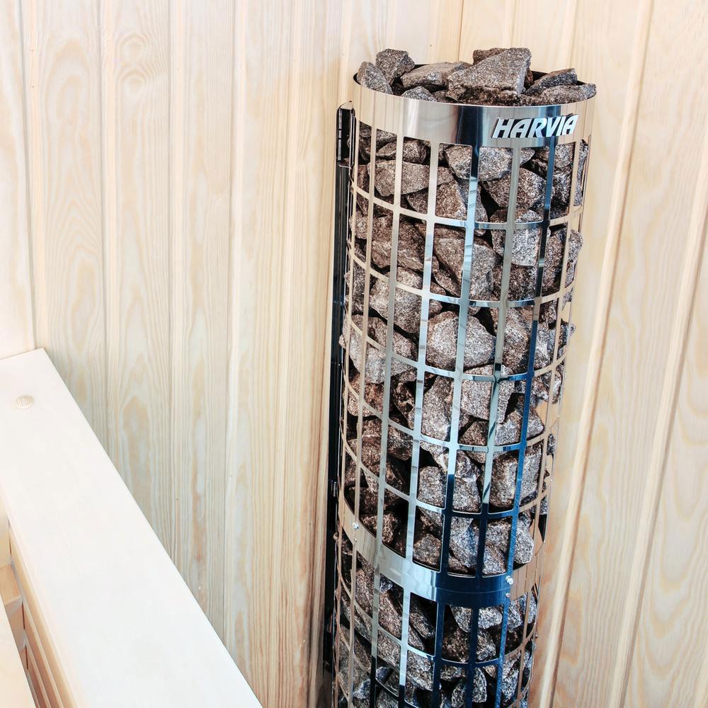 Cylindro fritstående saunaovn med indbygget styring fra siden solbadet