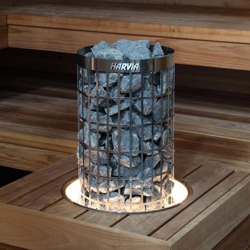 Harvia Cilindro Pro indbygget i bænk i sauna solbadet