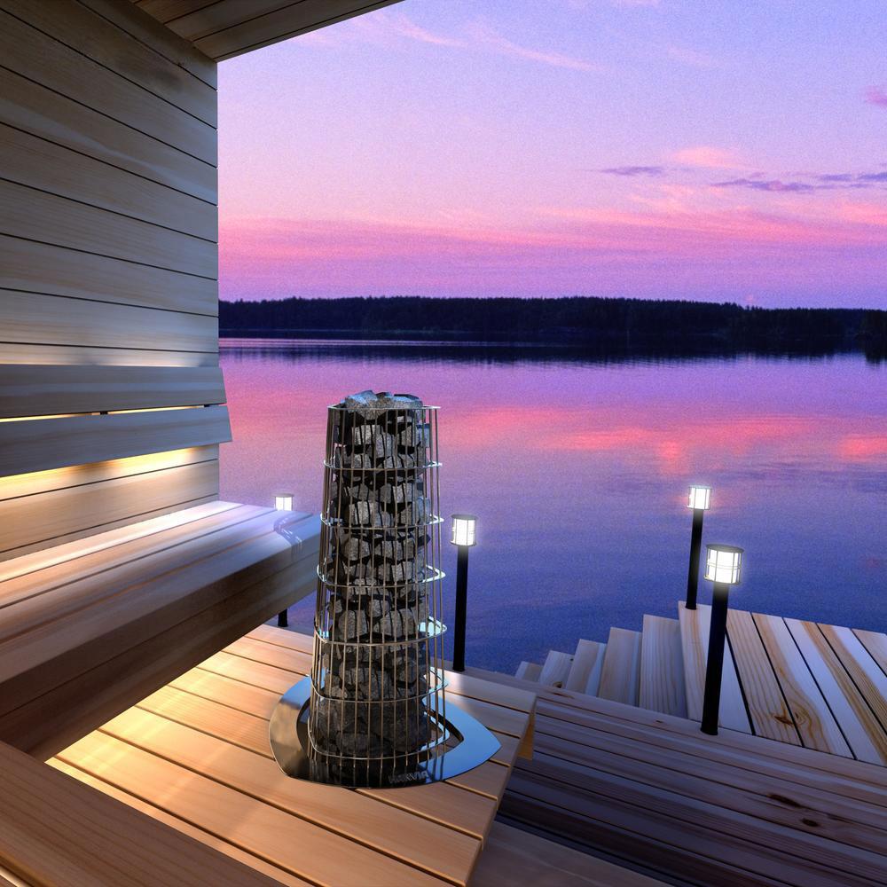 Harvia Kivi elektrisk saunaovn med udsigt solbadet