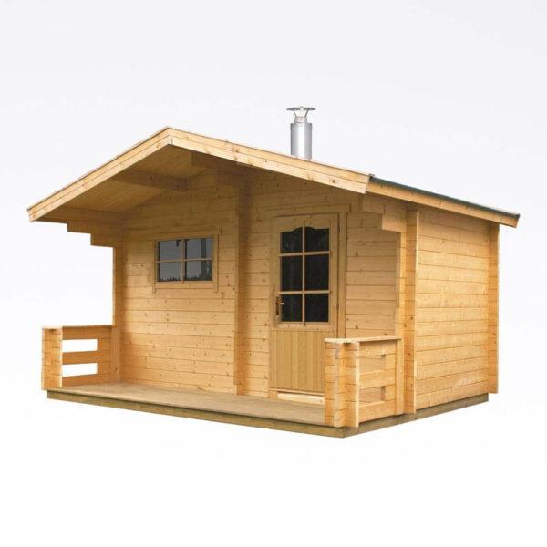 Outdoor sauna Keitele m/Senator T9-ovn, 2×3,8+0,9mtr solbadet