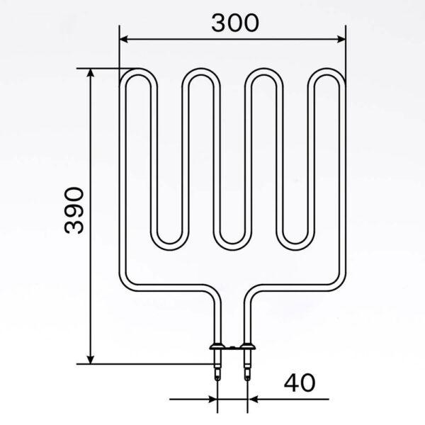 Sauna element 2000W, 230V Terminaler i bunden. solbadet