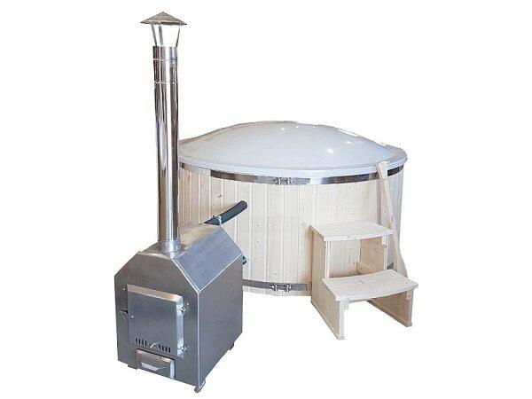 Vildmarksbad Ø 2m med fritstående rustfri ovn og filtersæt