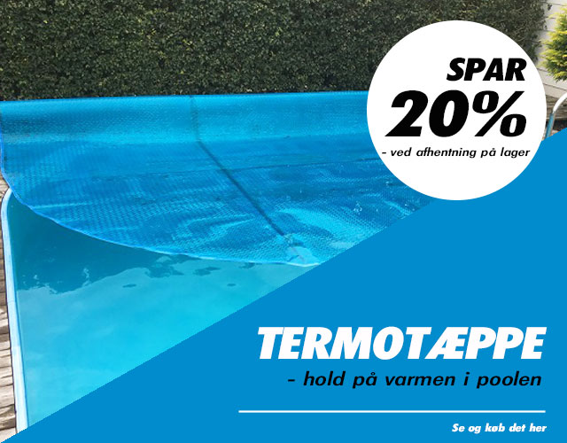 Termotæppe til poolen - få 20 % rabat hvis du henter på vores lager